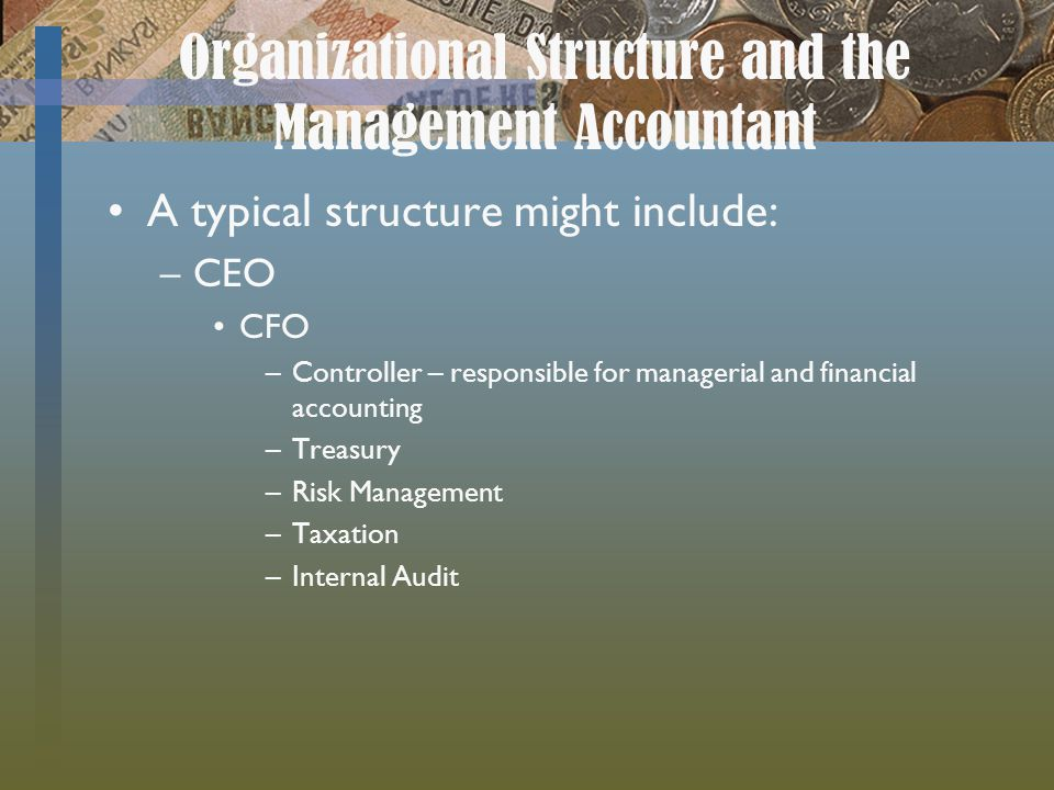Organizational Structure and the Management Accountant A typical structure might include: –CEO CFO –Controller – responsible for managerial and financial accounting –Treasury –Risk Management –Taxation –Internal Audit