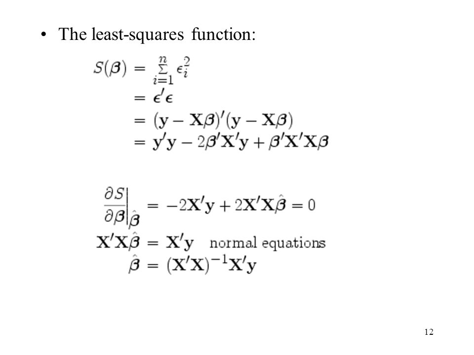 12 The least-squares function: