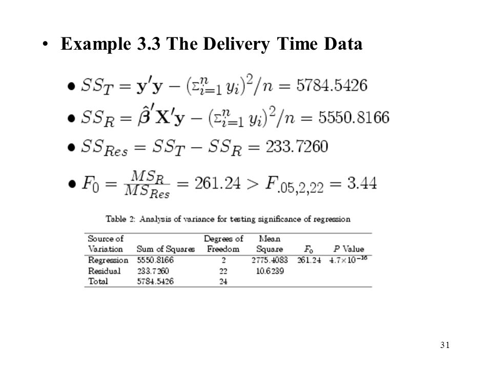 31 Example 3.3 The Delivery Time Data
