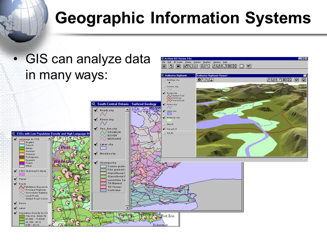 GIS can analyze data in many ways: Geographic Information Systems