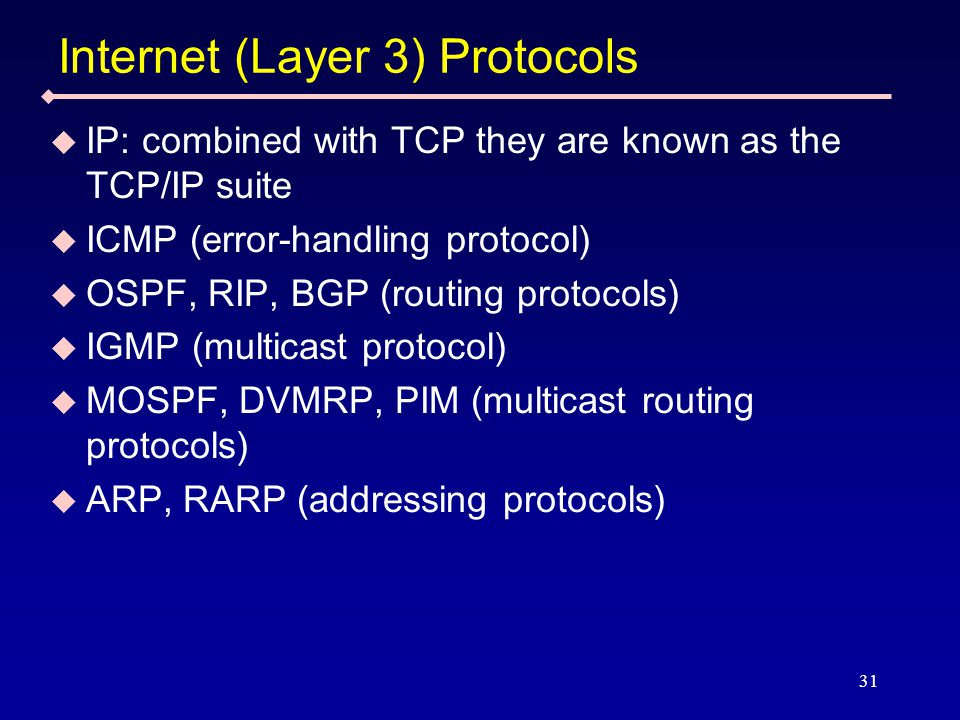 31 Internet (Layer 3) Protocols  IP: combined with TCP they are known as the TCP/IP suite  ICMP (error-handling protocol)  OSPF, RIP, BGP (routing protocols)  IGMP (multicast protocol)  MOSPF, DVMRP, PIM (multicast routing protocols)  ARP, RARP (addressing protocols)