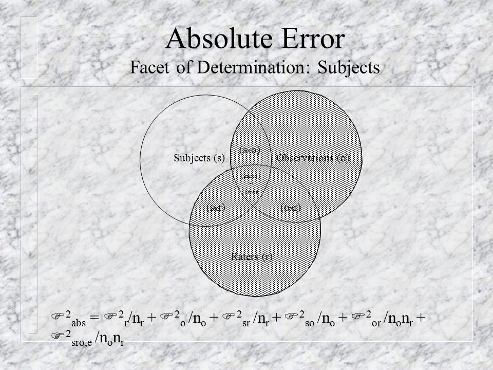 Absolute Error Facet of Determination: Subjects Subjects (s)Observations (o) Raters (r) (s x r)(o x r) (s x o) (s x r x o) + Error F 2 abs = F 2 r /n r + F 2 o /n o + F 2 sr /n r + F 2 so /n o + F 2 or /n o n r + F 2 sro,e /n o n r