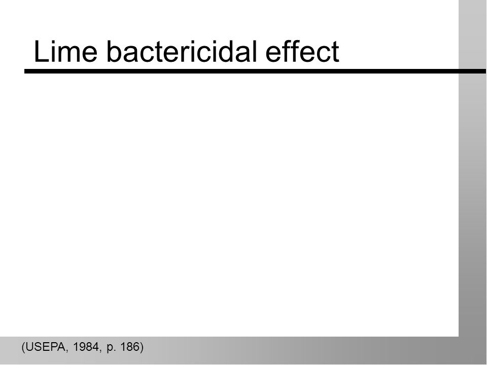 Lime bactericidal effect (USEPA, 1984, p. 186)