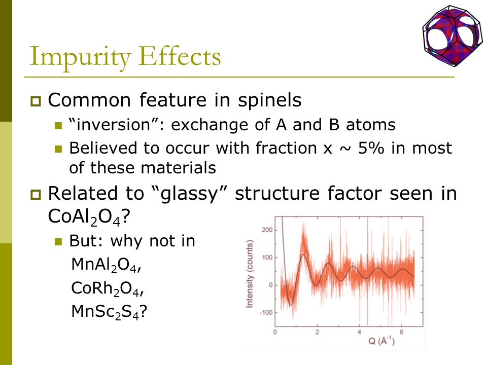 Impurity Effects  Common feature in spinels inversion : exchange of A and B atoms Believed to occur with fraction x ~ 5% in most of these materials  Related to glassy structure factor seen in CoAl 2 O 4 .