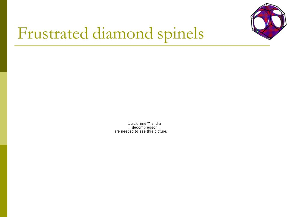 Frustrated diamond spinels
