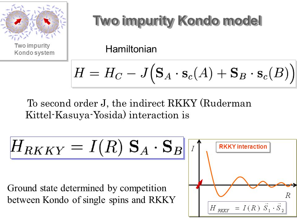 Two impurity Kondo model Two impurity Kondo system Hamiltonian To second order J, the indirect RKKY (Ruderman Kittel-Kasuya-Yosida) interaction is RKKY interaction Ground state determined by competition between Kondo of single spins and RKKY