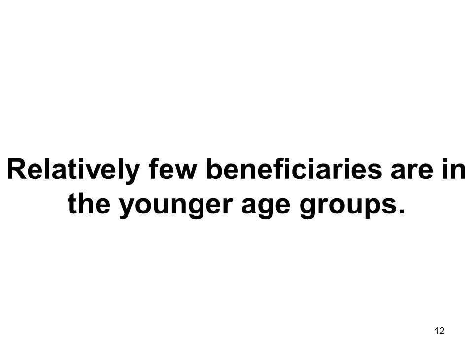 12 Relatively few beneficiaries are in the younger age groups.