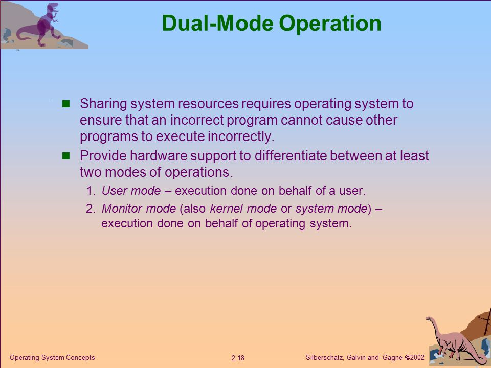 Silberschatz, Galvin and Gagne  Operating System Concepts Dual-Mode Operation Sharing system resources requires operating system to ensure that an incorrect program cannot cause other programs to execute incorrectly.