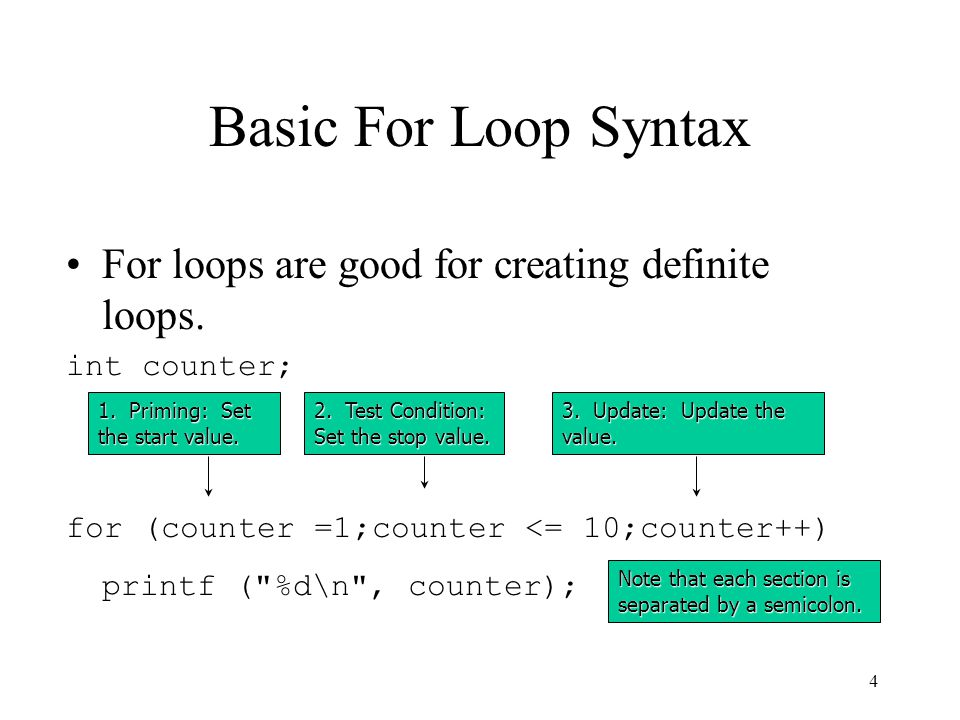 3 For loops Another type of loop in c is the for loop.