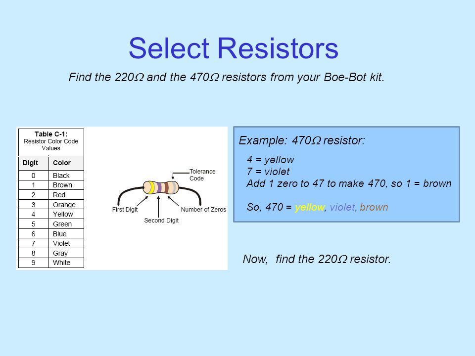 Select Resistors Find the 220  and the 470  resistors from your Boe-Bot kit.