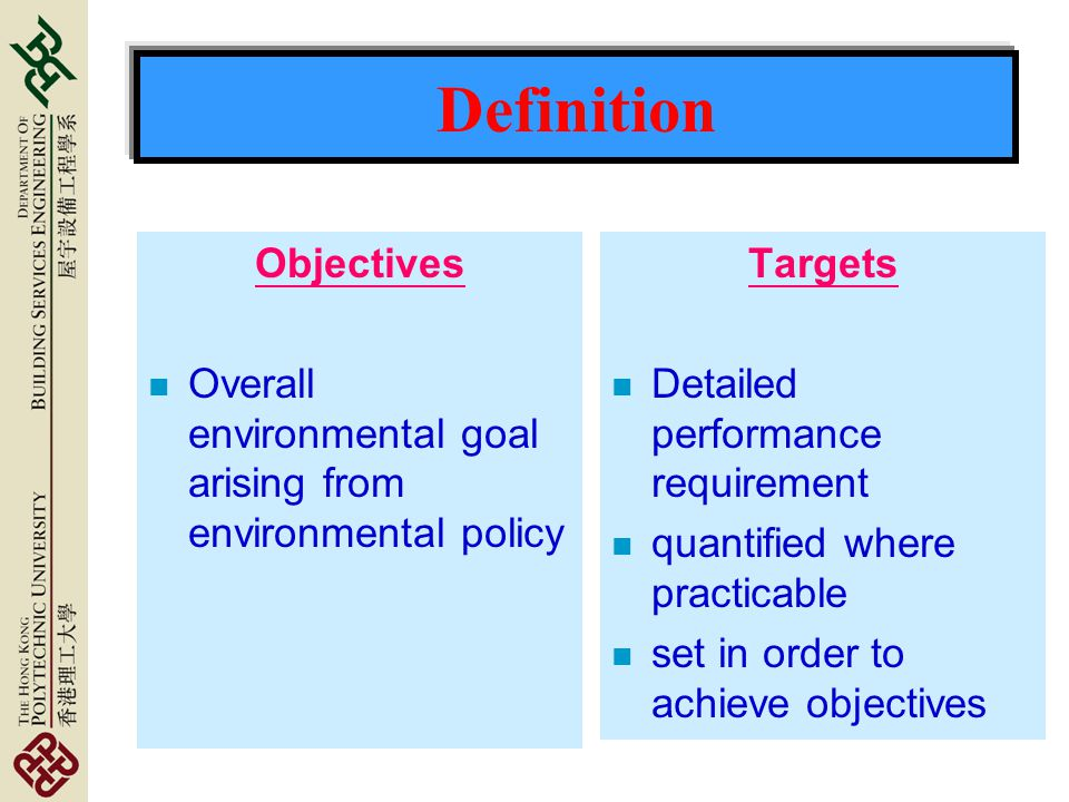 Definition Objectives n Overall environmental goal arising from environmental policy Targets n Detailed performance requirement n quantified where practicable n set in order to achieve objectives