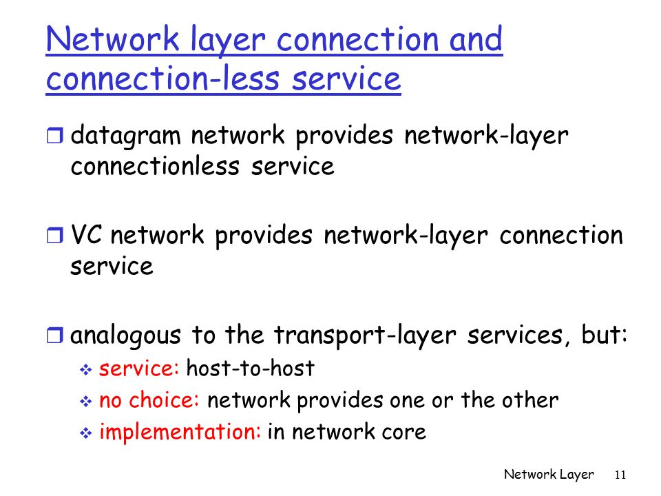 Network Layer 11 Network layer connection and connection-less service r datagram network provides network-layer connectionless service r VC network provides network-layer connection service r analogous to the transport-layer services, but:  service: host-to-host  no choice: network provides one or the other  implementation: in network core