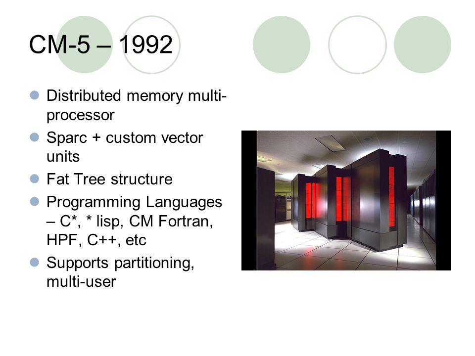 CM-5 – 1992 Distributed memory multi- processor Sparc + custom vector units Fat Tree structure Programming Languages – C*, * lisp, CM Fortran, HPF, C++, etc Supports partitioning, multi-user