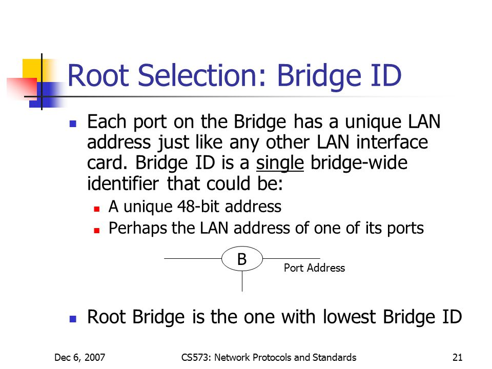 Dec 6, 2007CS573: Network Protocols and Standards21 Root Selection: Bridge ID Each port on the Bridge has a unique LAN address just like any other LAN interface card.