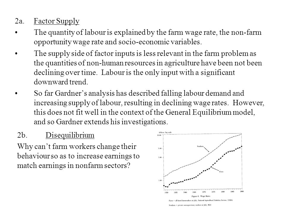 2a.Factor Supply The quantity of labour is explained by the farm wage rate, the non-farm opportunity wage rate and socio-economic variables.