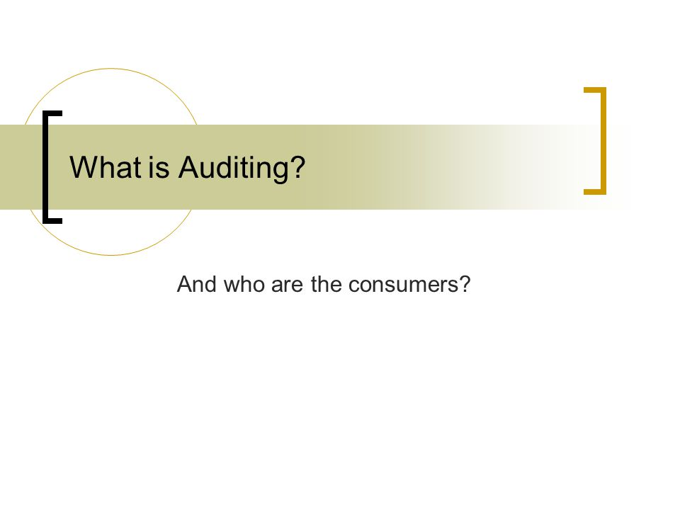 What is Auditing And who are the consumers