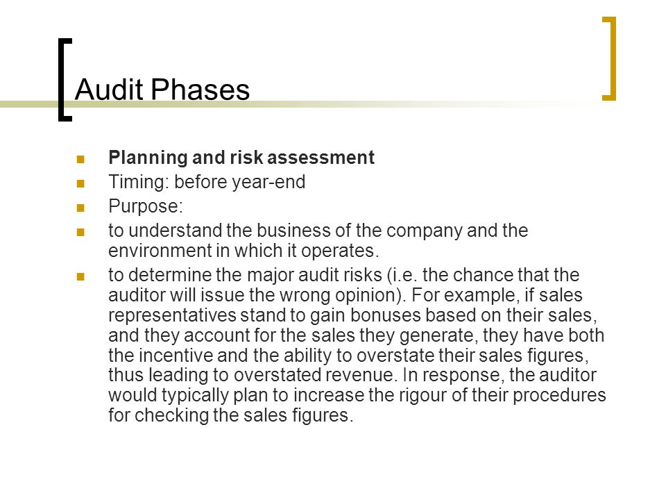 Audit Phases Planning and risk assessment Timing: before year-end Purpose: to understand the business of the company and the environment in which it operates.