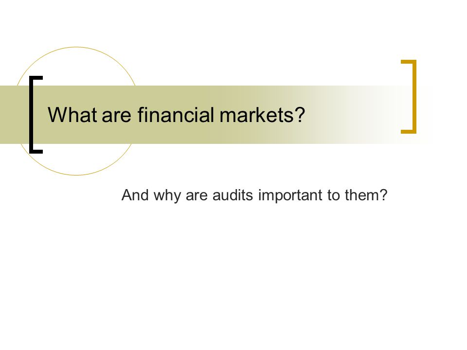 What are financial markets And why are audits important to them