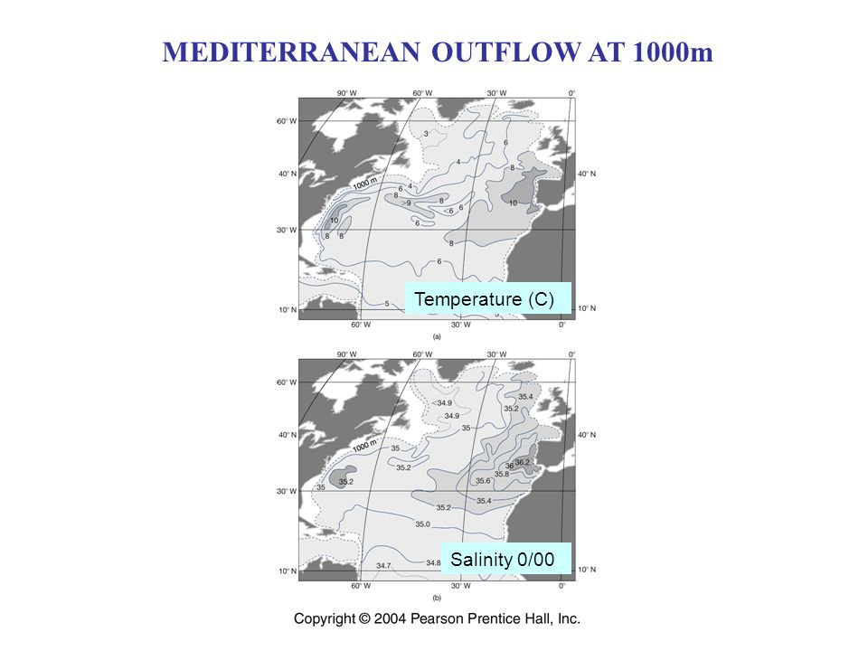 MEDITERRANEAN OUTFLOW AT 1000m Temperature (C) Salinity 0/00