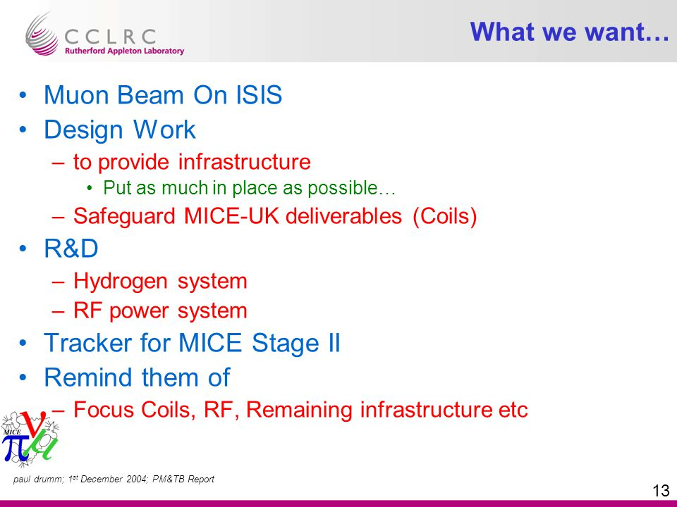 paul drumm; 1 st December 2004; PM&TB Report 13 What we want… Muon Beam On ISIS Design Work –to provide infrastructure Put as much in place as possible… –Safeguard MICE-UK deliverables (Coils) R&D –Hydrogen system –RF power system Tracker for MICE Stage II Remind them of –Focus Coils, RF, Remaining infrastructure etc