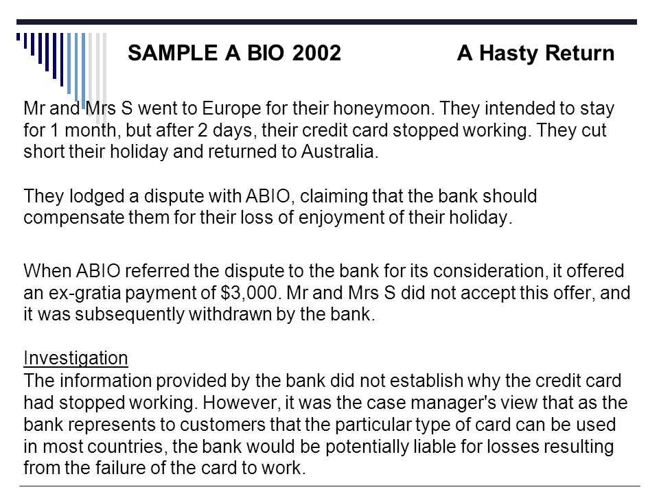 SAMPLE A BIO 2002A Hasty Return Mr and Mrs S went to Europe for their honeymoon.