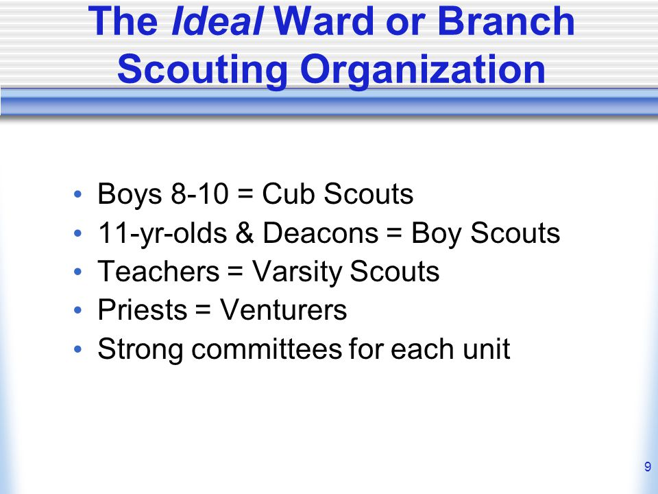 9 The Ideal Ward or Branch Scouting Organization Boys 8-10 = Cub Scouts 11-yr-olds & Deacons = Boy Scouts Teachers = Varsity Scouts Priests = Venturers Strong committees for each unit
