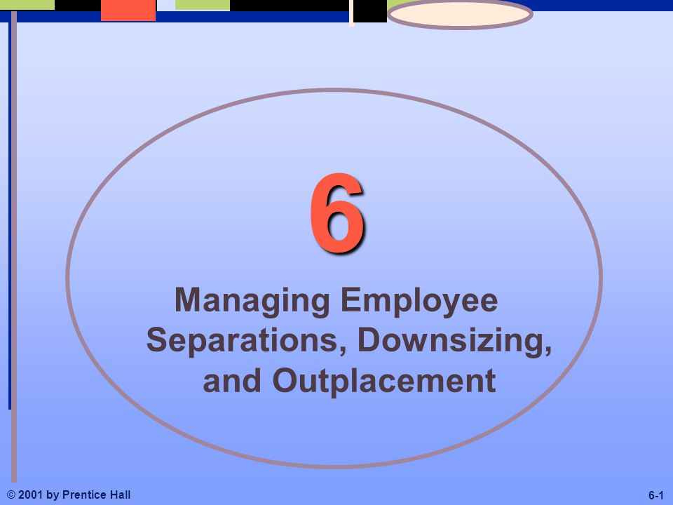© 2001 by Prentice Hall Managing Employee Separations, Downsizing, and Outplacement