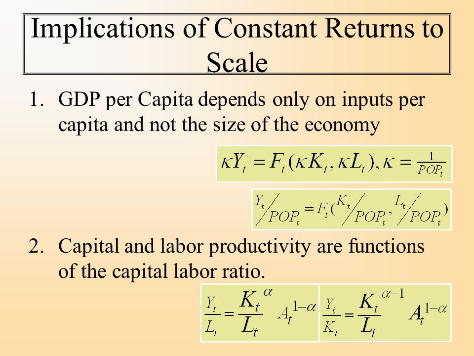 Implications of Constant Returns to Scale 1.GDP per Capita depends only on inputs per capita and not the size of the economy 2.Capital and labor productivity are functions of the capital labor ratio.