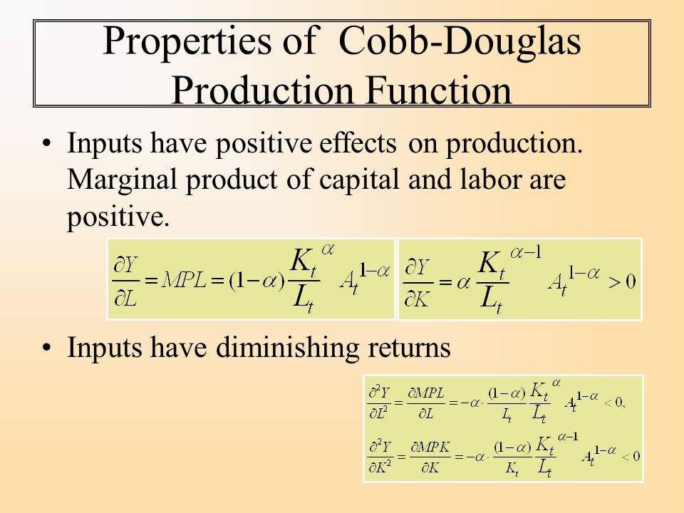Properties of Cobb-Douglas Production Function Inputs have positive effects on production.