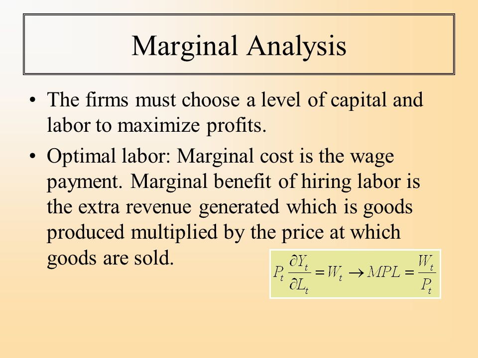 Marginal Analysis The firms must choose a level of capital and labor to maximize profits.