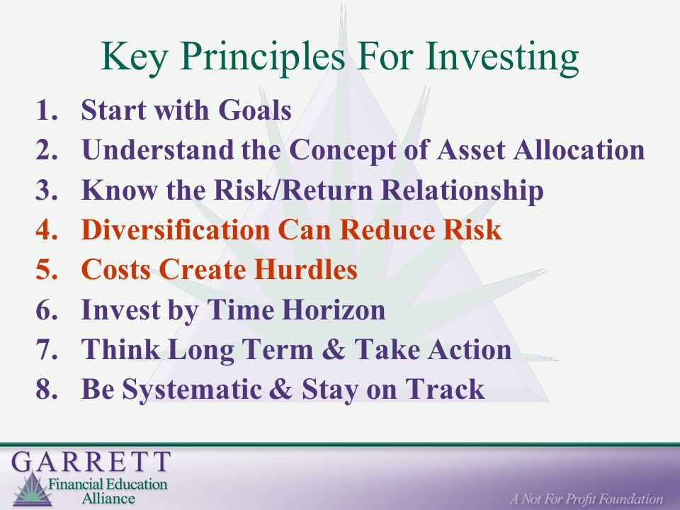 Key Principles For Investing 1.Start with Goals 2.Understand the Concept of Asset Allocation 3.Know the Risk/Return Relationship 4.Diversification Can Reduce Risk 5.Costs Create Hurdles 6.Invest by Time Horizon 7.Think Long Term & Take Action 8.Be Systematic & Stay on Track