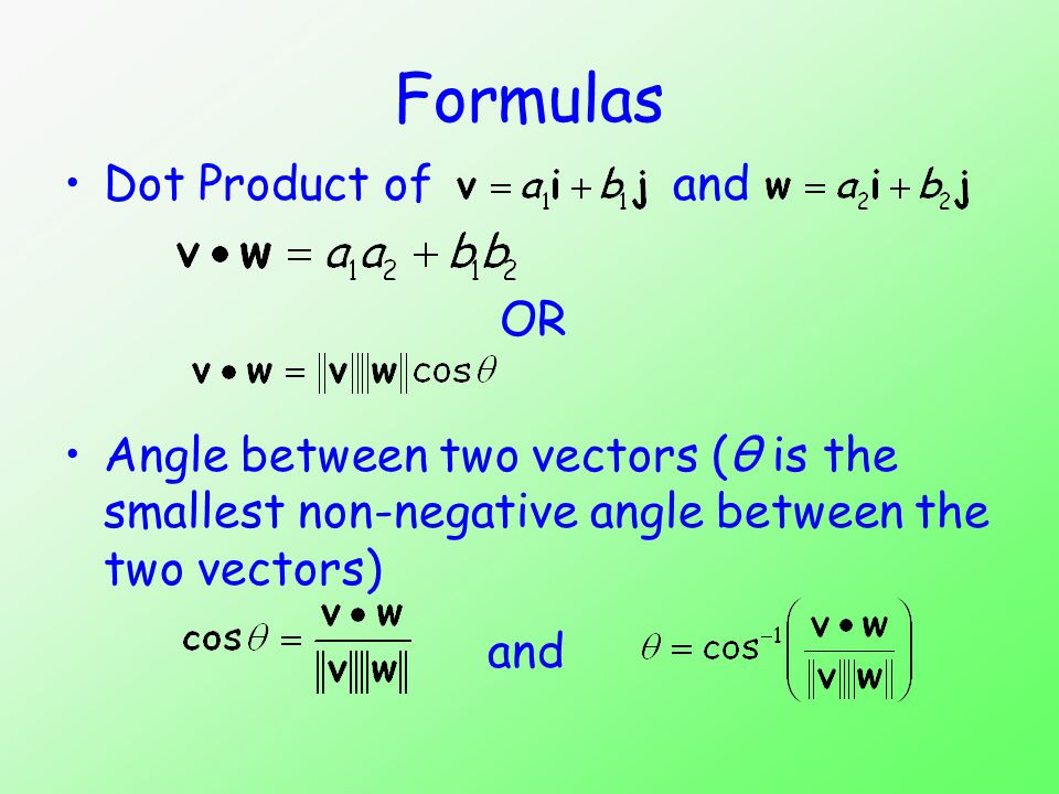 The angle between two vectors