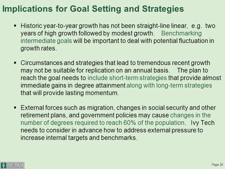 Implications for Goal Setting and Strategies  Historic year-to-year growth has not been straight-line linear, e.g.