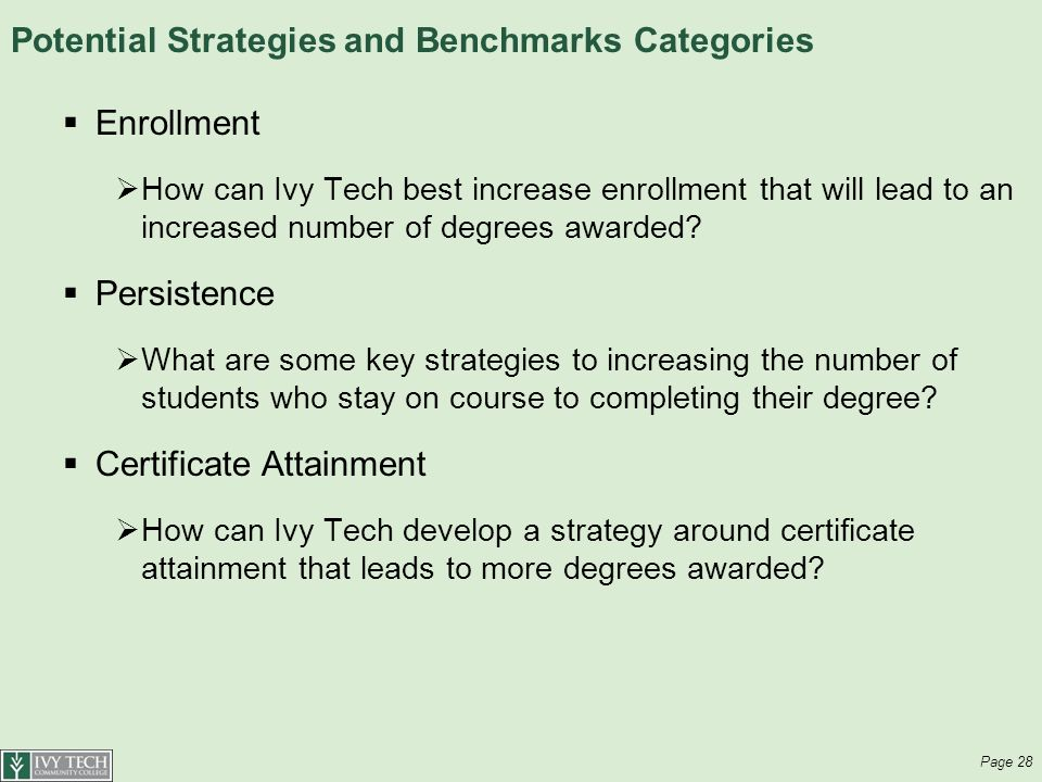 Potential Strategies and Benchmarks Categories  Enrollment  How can Ivy Tech best increase enrollment that will lead to an increased number of degrees awarded.
