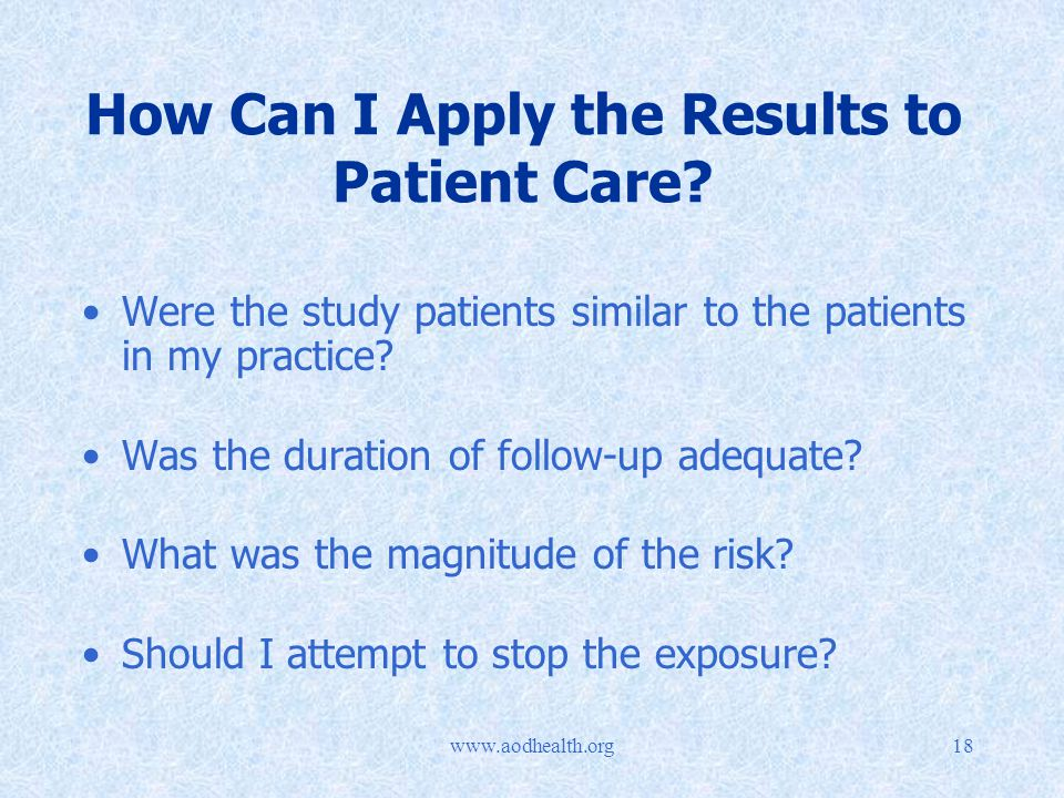 How Can I Apply the Results to Patient Care.