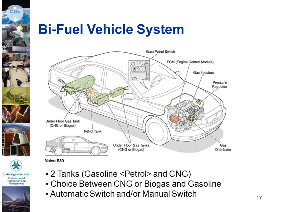 17 Bi-Fuel Vehicle System 2 Tanks (Gasoline and CNG) Choice Between CNG or Biogas and Gasoline Automatic Switch and/or Manual Switch