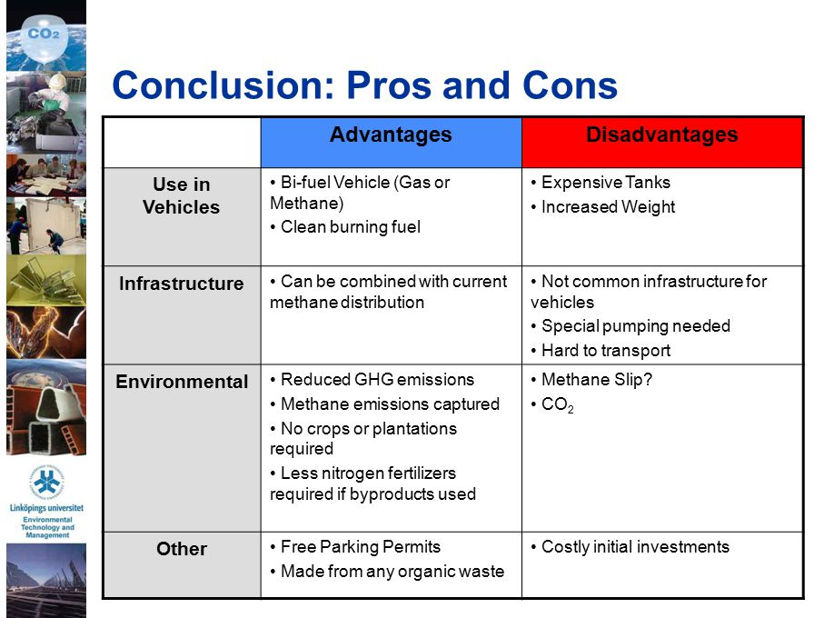 33 Conclusion: Pros and Cons AdvantagesDisadvantages Use in Vehicles Bi-fuel Vehicle (Gas or Methane) Clean burning fuel Expensive Tanks Increased Weight Infrastructure Can be combined with current methane distribution Not common infrastructure for vehicles Special pumping needed Hard to transport Environmental Reduced GHG emissions Methane emissions captured No crops or plantations required Less nitrogen fertilizers required if byproducts used Methane Slip.