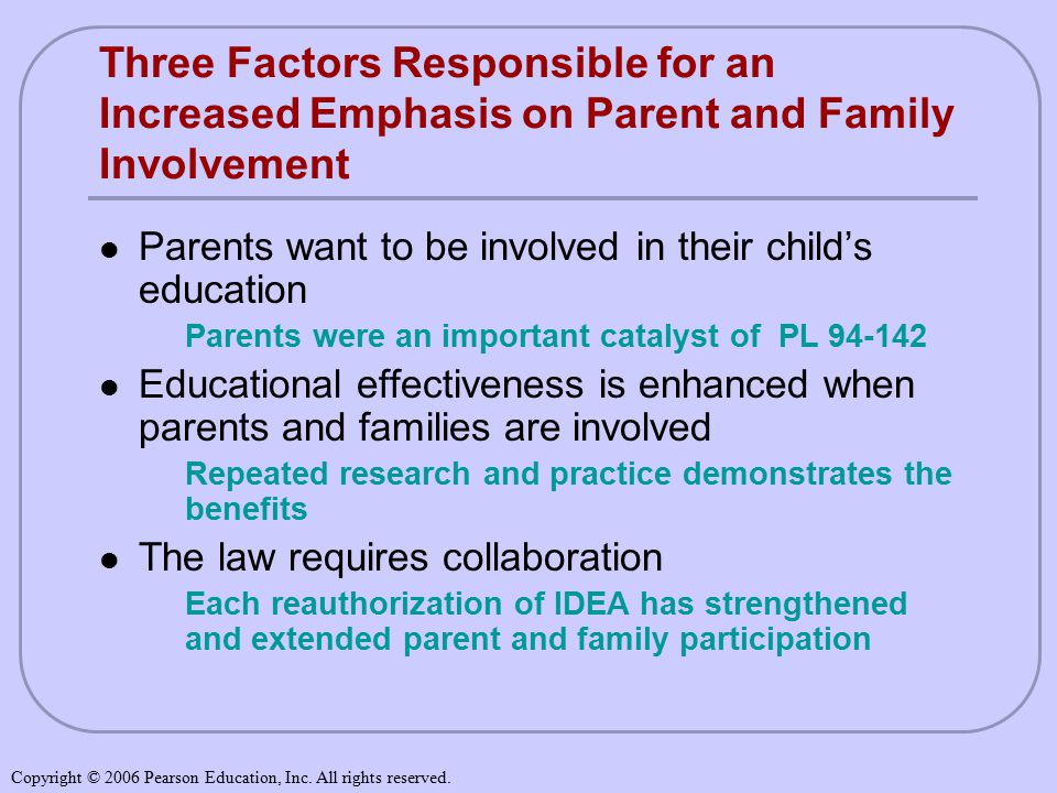 Three Factors Responsible for an Increased Emphasis on Parent and Family Involvement Parents want to be involved in their child's education Parents were an important catalyst of PL Educational effectiveness is enhanced when parents and families are involved Repeated research and practice demonstrates the benefits The law requires collaboration Each reauthorization of IDEA has strengthened and extended parent and family participation Copyright © 2006 Pearson Education, Inc.