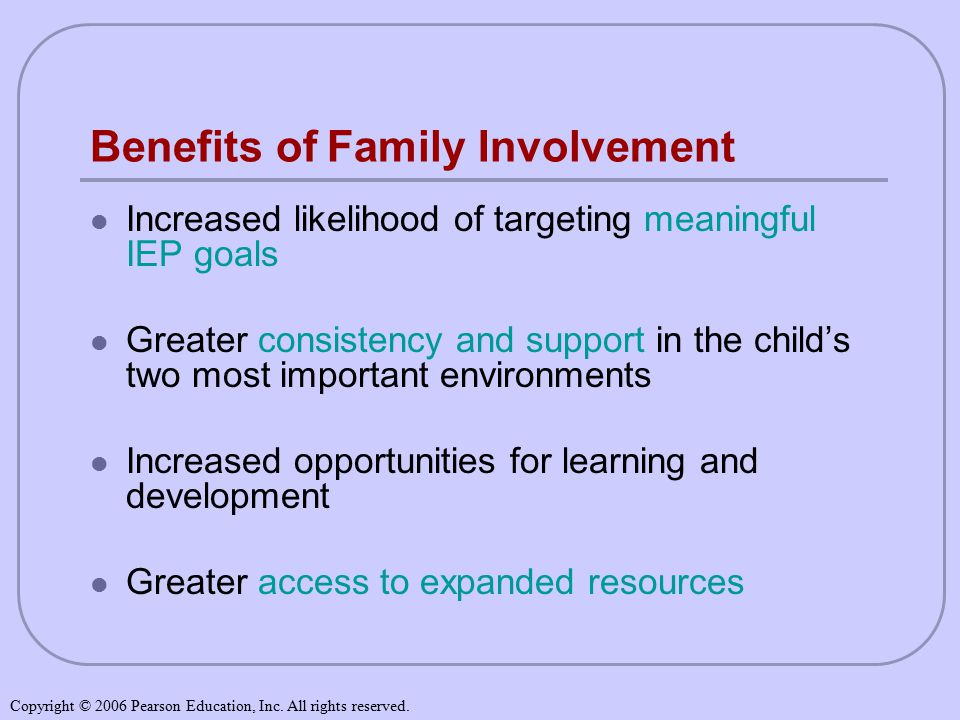 Benefits of Family Involvement Increased likelihood of targeting meaningful IEP goals Greater consistency and support in the child's two most important environments Increased opportunities for learning and development Greater access to expanded resources Copyright © 2006 Pearson Education, Inc.
