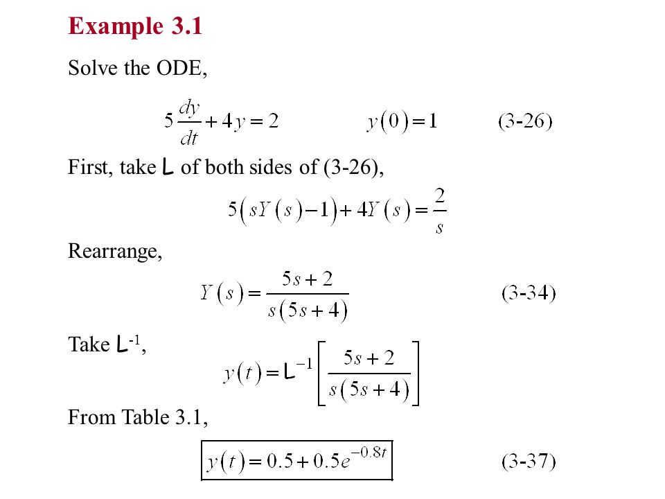 Example 3.1 Solve the ODE, First, take L of both sides of (3-26), Rearrange, Take L -1, From Table 3.1,