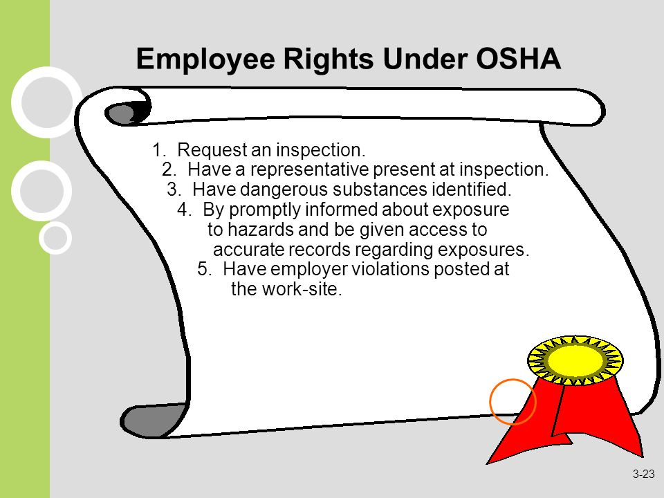 Employee Rights Under OSHA 1. Request an inspection.