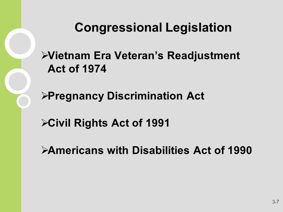 Congressional Legislation  Vietnam Era Veteran's Readjustment Act of 1974  Pregnancy Discrimination Act  Civil Rights Act of 1991  Americans with Disabilities Act of
