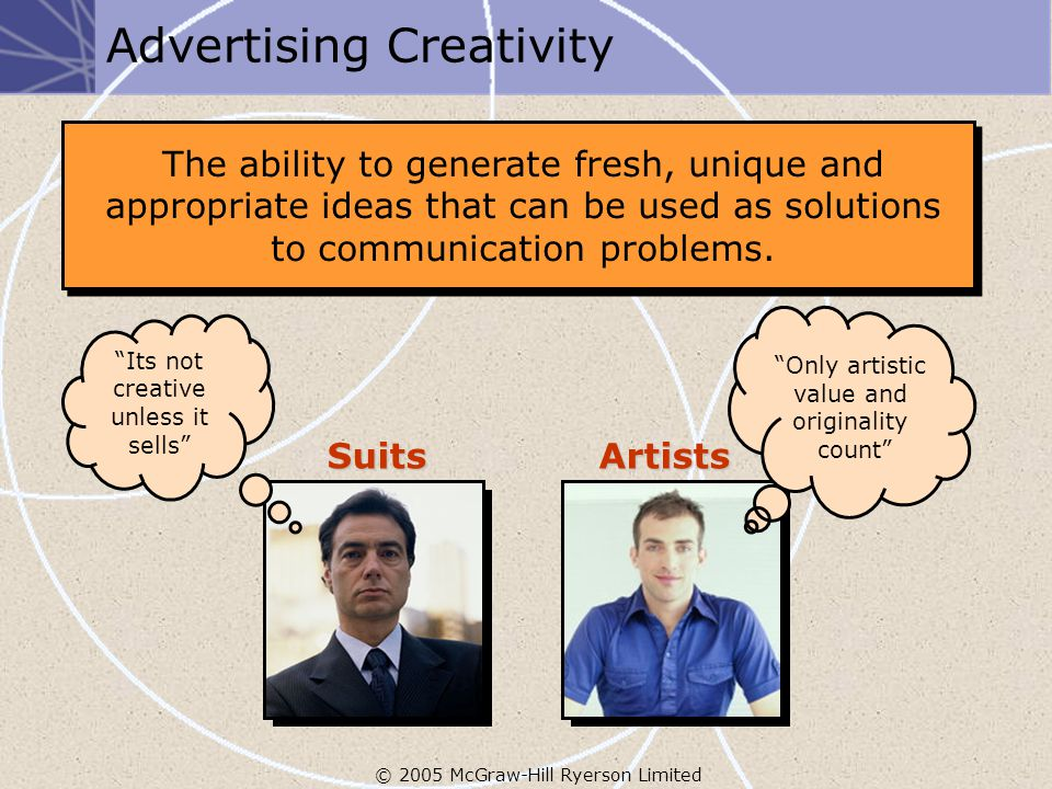 © 2005 McGraw-Hill Ryerson Limited Advertising Creativity The ability to generate fresh, unique and appropriate ideas that can be used as solutions to communication problems.