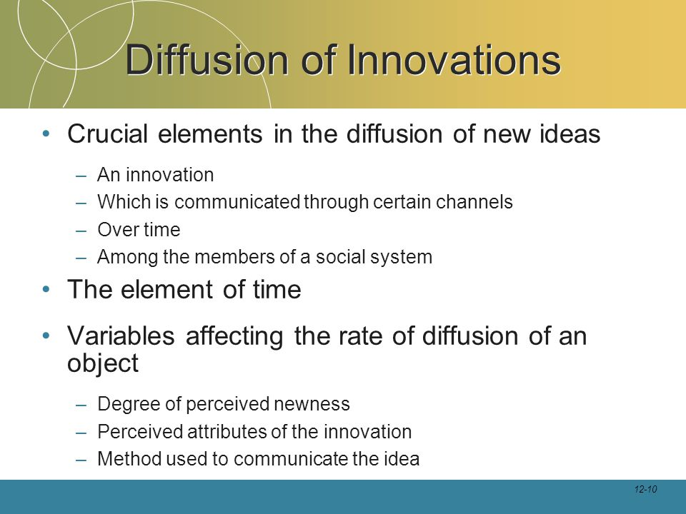 12-10 Diffusion of Innovations Crucial elements in the diffusion of new ideas –An innovation –Which is communicated through certain channels –Over time –Among the members of a social system The element of time Variables affecting the rate of diffusion of an object –Degree of perceived newness –Perceived attributes of the innovation –Method used to communicate the idea