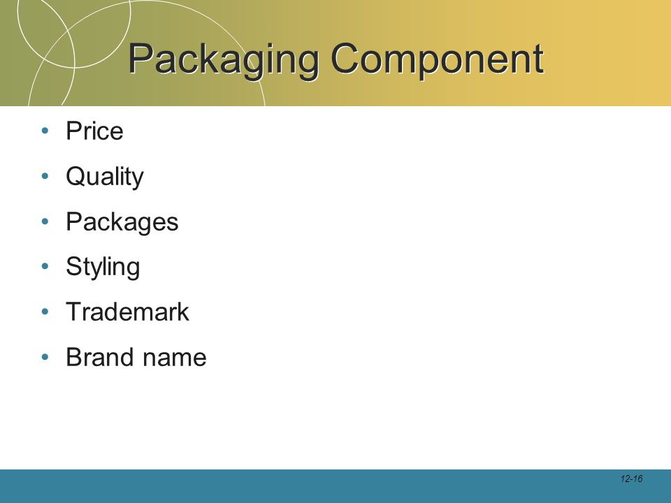 12-16 Packaging Component Price Quality Packages Styling Trademark Brand name