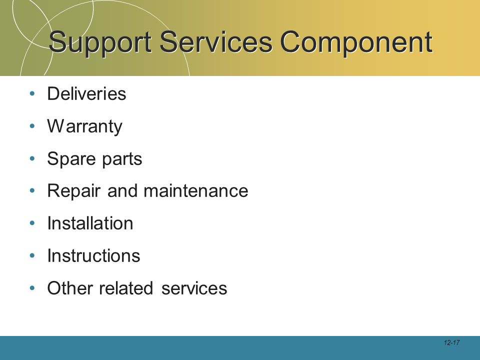 12-17 Support Services Component Deliveries Warranty Spare parts Repair and maintenance Installation Instructions Other related services
