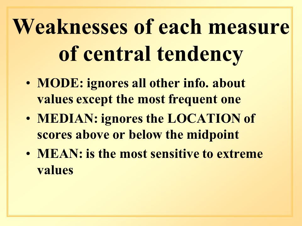 Weaknesses of each measure of central tendency MODE: ignores all other info.