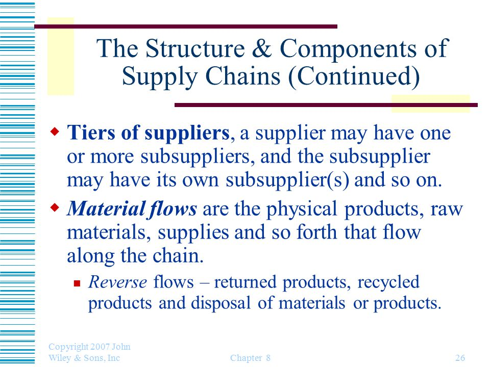 The Structure & Components of Supply Chains (Continued)  Tiers of suppliers, a supplier may have one or more subsuppliers, and the subsupplier may have its own subsupplier(s) and so on.