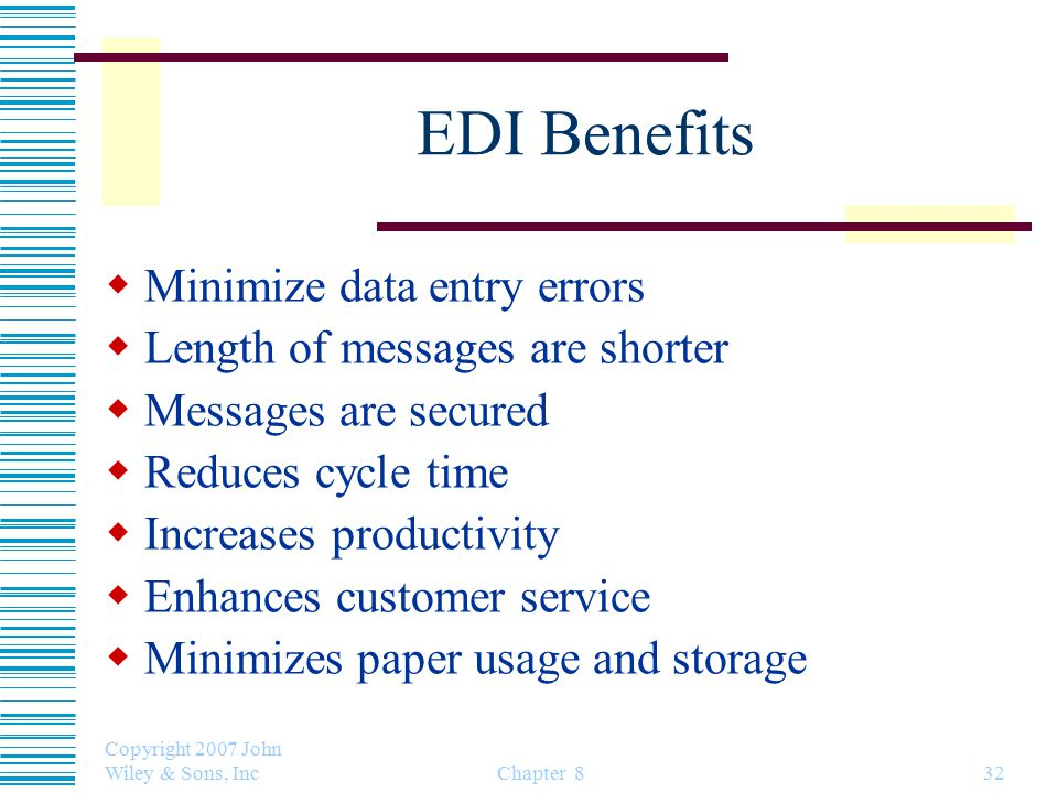 EDI Benefits  Minimize data entry errors  Length of messages are shorter  Messages are secured  Reduces cycle time  Increases productivity  Enhances customer service  Minimizes paper usage and storage 32 Copyright 2007 John Wiley & Sons, Inc Chapter 8
