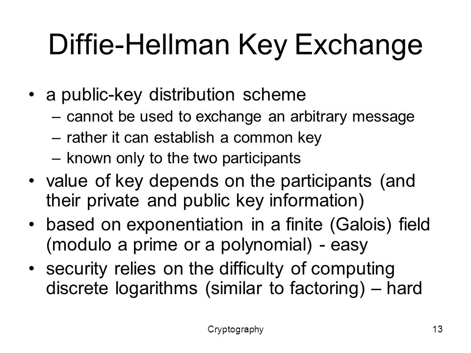 Cryptography13 Diffie-Hellman Key Exchange a public-key distribution scheme –cannot be used to exchange an arbitrary message –rather it can establish a common key –known only to the two participants value of key depends on the participants (and their private and public key information) based on exponentiation in a finite (Galois) field (modulo a prime or a polynomial) - easy security relies on the difficulty of computing discrete logarithms (similar to factoring) – hard